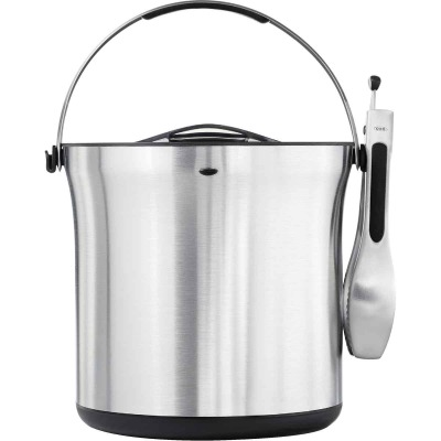 Oxo Steel 9.3 In. H. x 8.8 In. Dia. Stainless Steel Ice Bucket & Tongs