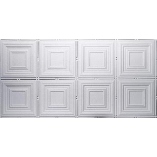Dimensions 2 Ft. x 4 Ft. White 12 In. Square Pattern Tin Look Nonsuspended Ceiling Tile & Backsplash