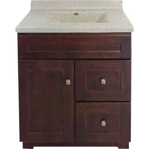 CraftMark CherryVale Shaker Cherry 30 In. W x 34 In. H x 21 In. D Vanity Base, 1 Door/2 Drawer