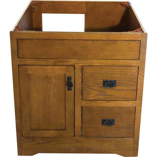 CraftMark Craftsmen Estate Oak 30 In. W x 34 In. H x 21 In. D Vanity Base, 1 Door/2 Drawer