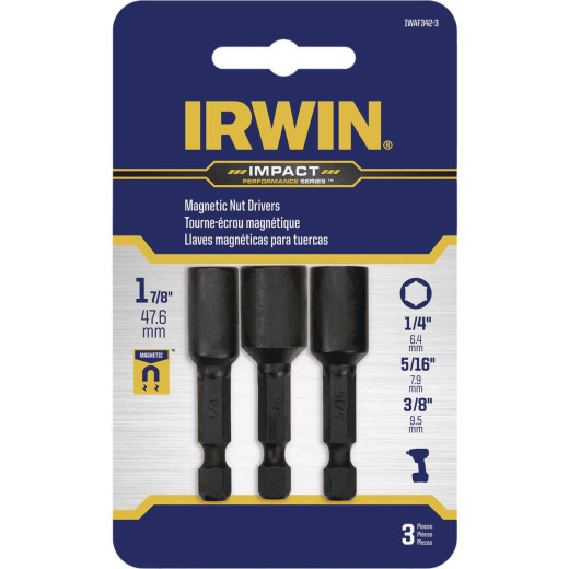 Irwin Impact Performance 3-Piece Magnetic Nutdriver Bit Set