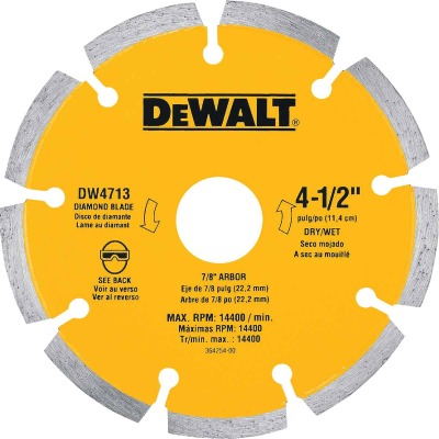 DeWalt Extended Performance  4-1/2 In. Turbo Segmented Rim Dry/Wet Cut Diamond Blade (Bulk)