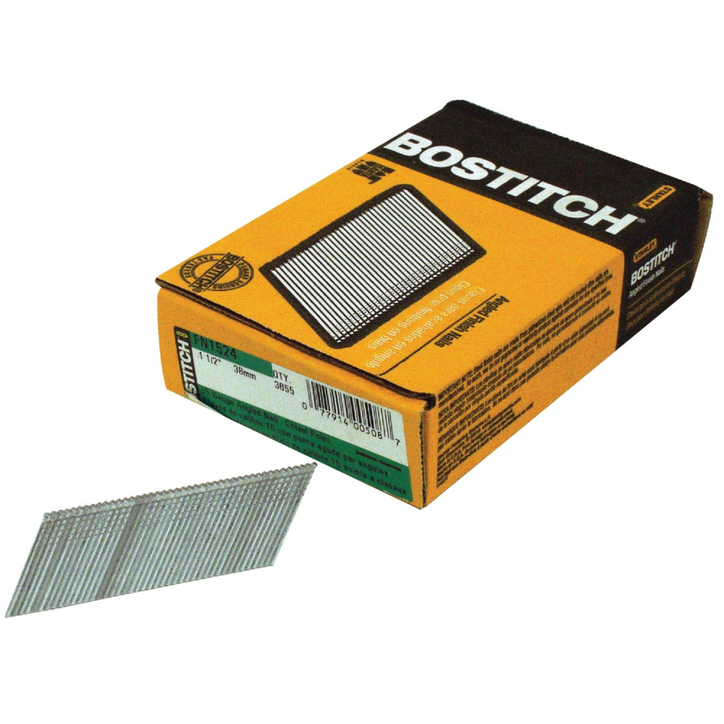 Bostitch 15-Gauge Coated 25 Degree FN-Style Angled Finish Nail, 1-1/2 In. (3655 Ct.) Image 1