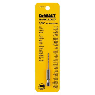 DeWalt Rapid Load 1/16 In. Black Oxide Hex Shank Drill Bit
