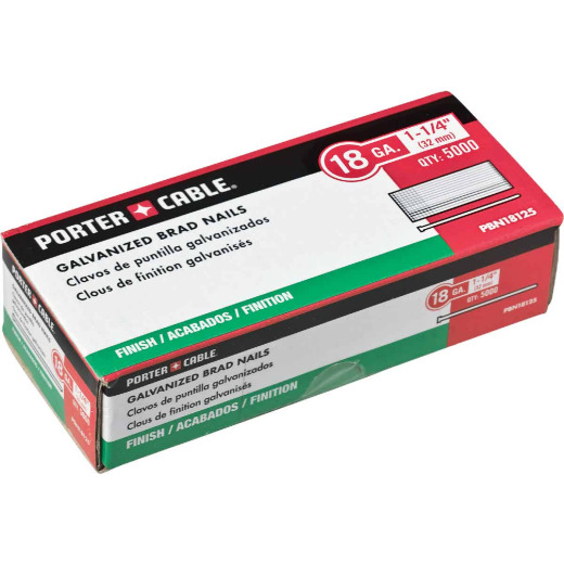 Porter Cable 18-Gauge Galvanized Brad Nail, 1-1/4 In. (5000 Ct.)