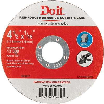 Do it Type 1 4-1/2 In. x 1/16 In. x 7/8 In. Metal Cut-Off Wheel