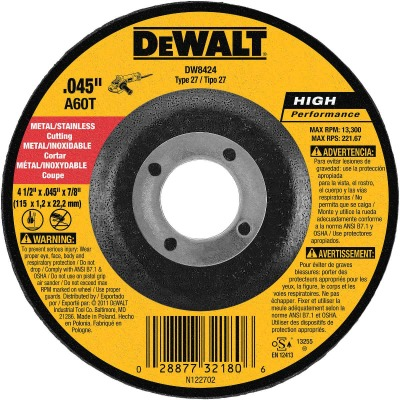 DeWalt HP Type 27 4-1/2 In. x 0.045 In. x 7/8 In. Metal/Stainless Cut-Off Wheel