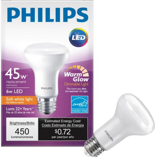 Philips Warm Glow 45W Equivalent Soft White R20 Medium Dimmable LED Spotlight Light Bulb