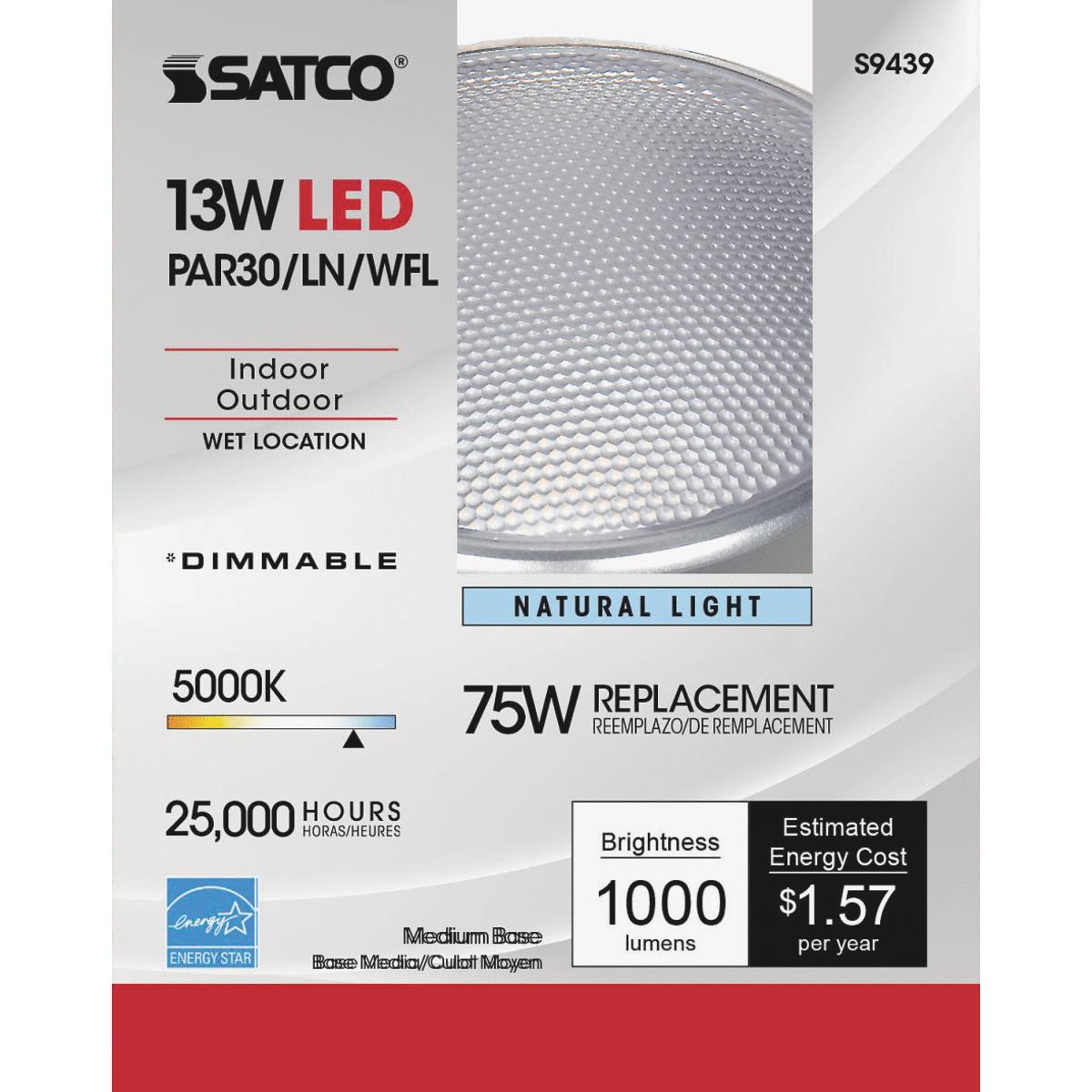 SATCO S9431 13W PAR30 Long Neck Energy Savings LED Medium Base Light Bulb White