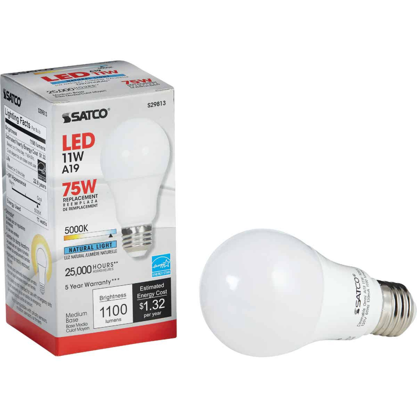 Satco 75W Equivalent Natural Light A19 Medium Dimmable LED Light Bulb Image 1