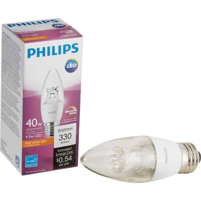 Philips Warm Glow 40W Equivalent Soft White B12 Medium Dimmable LED Decorative Light Bulb