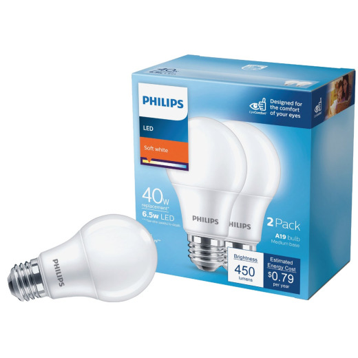 Philips 40W Equivalent Soft White A19 Medium LED Light Bulb (2-Pack)