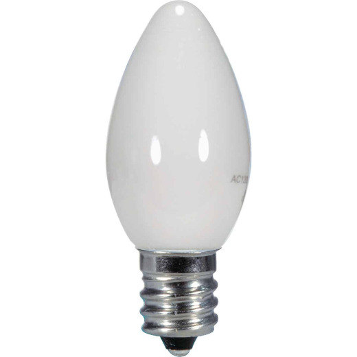 Satco 5W Equivalent Soft White Frosted C7 Candelabra Base LED Decorative Light Bulb