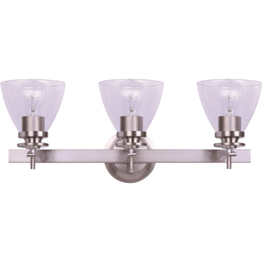 Home Impressions 3-Bulb Brushed Nickel Vanity Bath Light Fixture, Clear Glass