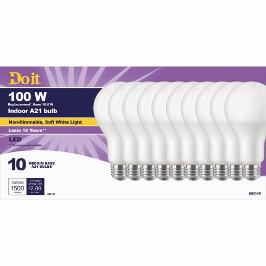 Do it 100W Equivalent Soft White A21 Medium LED Light Bulb, Title 20 (10-Pack)