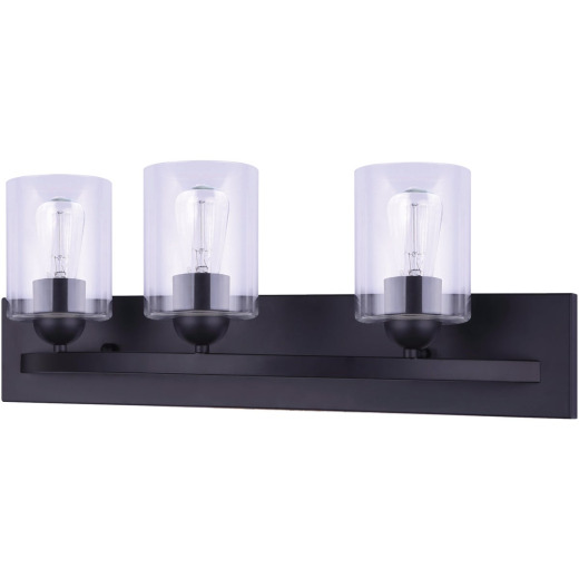 Home Impressions 3-Bulb Matte Black Vanity Bath Light Fixture with Easy Connect