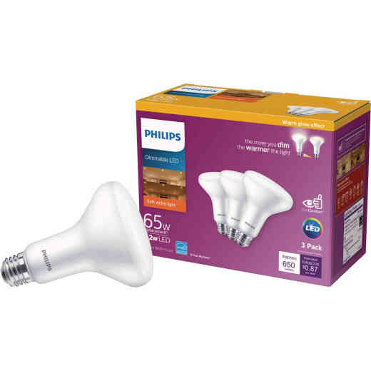Philips Warm Glow 65W Equivalent Soft White BR30 Medium Dimmable LED Floodlight Light Bulb (3-Pack)
