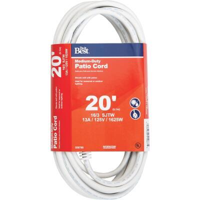 Do it Best 20 Ft. 16/3 Medium-Duty White Patio Extension Cord
