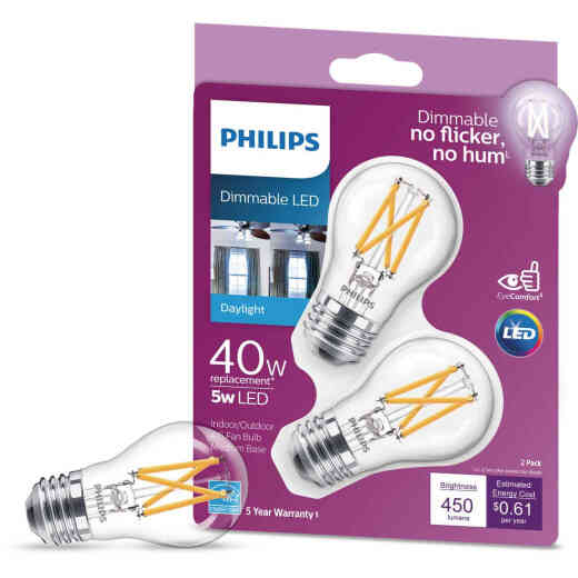 Philips 40W Equivalent Daylight A15 Medium Dimmable LED Light Bulb (2-Pack)