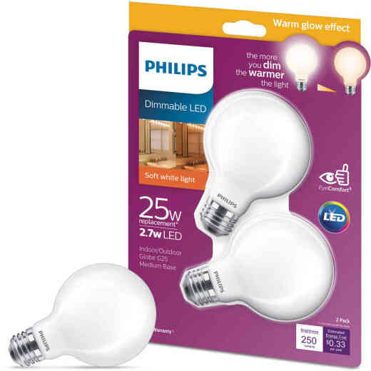 Philips Warm Glow 25W Equivalent Soft White G25 Medium Frosted Dimmable LED Decorative Globe Light Bulb (2-Pack)