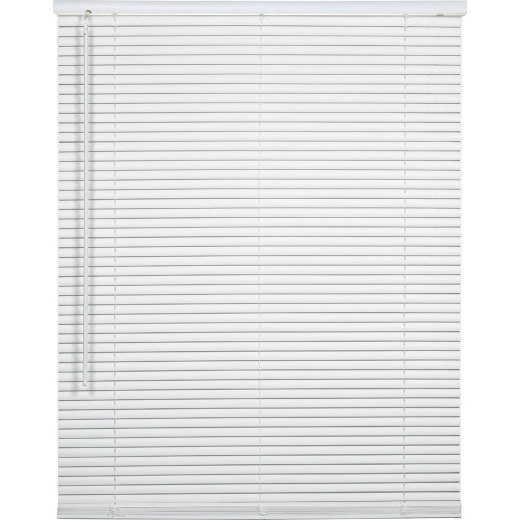 Home Impressions 23 In. x 64 In. x 1 In. White Vinyl Light Filtering Cordless Mini Blind