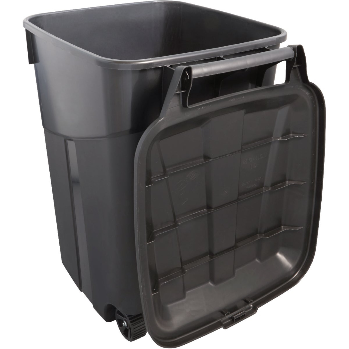 United Solutions Rough and Rugged 45 Gal. Wheeled Trash Can with Attached Lid Image 6