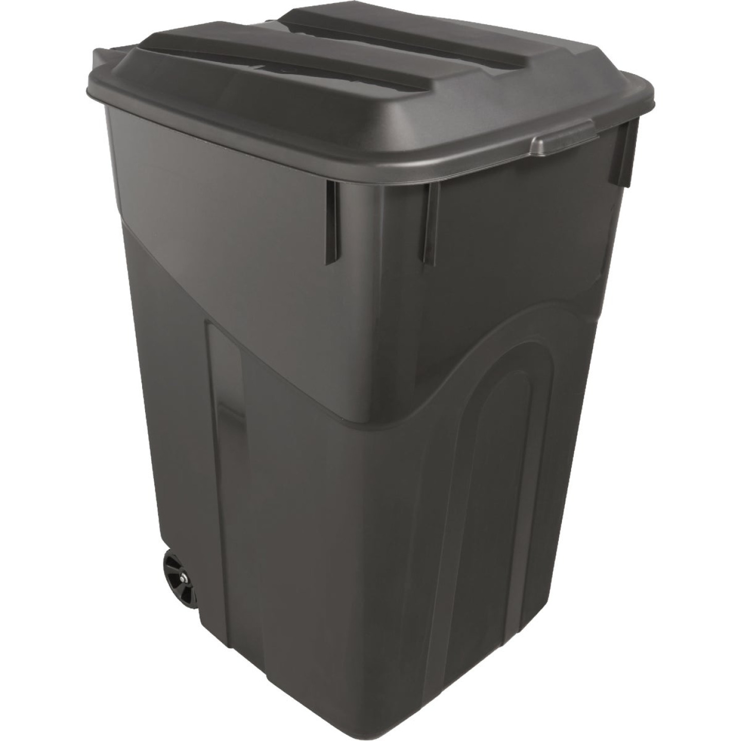 United Solutions Rough and Rugged 45 Gal. Wheeled Trash Can with Attached Lid Image 1