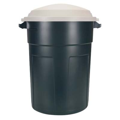Rubbermaid Roughneck 32 Gal. Green Trash Can with Lid