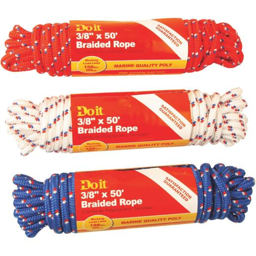 Do it 3/8 In. x 50 Ft. Assorted Colors Diamond Braided Polypropylene Packaged Rope