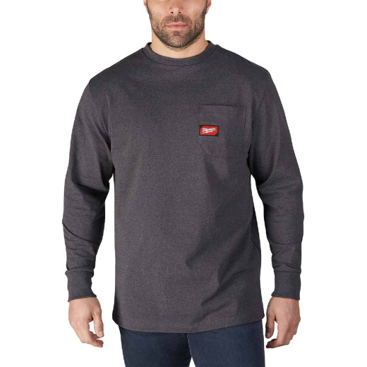 Milwaukee Large Gray Long Sleeve Men's Heavy-Duty Pocket Shirt