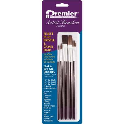 Premier Assorted Bristle & Camel Hair Artist Brushes (5-Pieces)
