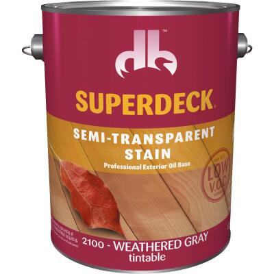 Duckback SUPERDECK Low VOC Semi-Transparent Exterior Stain, Weathered Gray, 1 Gal.