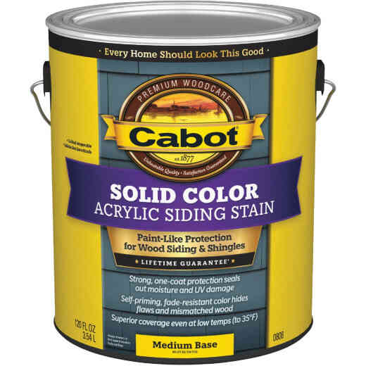 Cabot Solid Color Acrylic Siding Exterior Stain, Medium Base, 1 Gal.