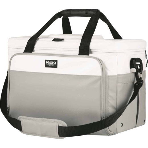 Igloo MaxCold Marine 36-Can Divided Soft-Side Cooler, White & Gray