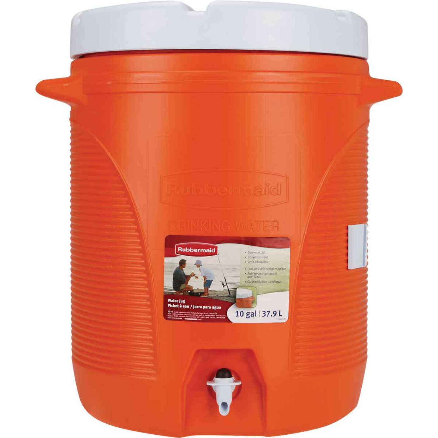 Rubbermaid 10 Gal. Orange Water Jug with In-Molded Handle Image 2