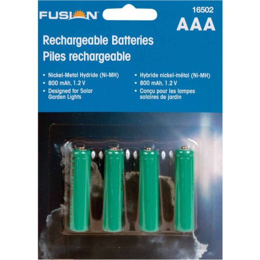 Fusion AAA 800 mAh Ni-MH Solar Replacement Battery (4-Pack)