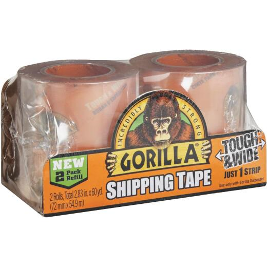 Gorilla 2.83 In. W. x 30 Yd. L. Clear Shipping Tape Refill (2-Pack)